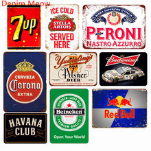 Ice Cold Drinks Beers Decoration Vintage Metal Tin Signs Soft Drink Cola Retro Plaque Pub Bar Casino Metal Wall Art Decor WY57(China)