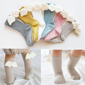 Baby Girls Knee High Socks Angel wing  Summer Autumn Cotton Solid Candy Color Kids Toddler Short - discount item  15% OFF Baby Clothing