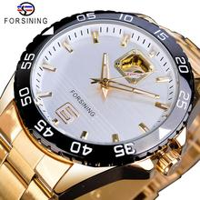 Forsining Mechanical Golden Mens Watch Top Brand Luxury Business Male Watches Business Automatic New Arrival Fashion Man Clock forsining watch men fashion casual watches top brand luxury watch automatic mechanical clock classic business wristwatch