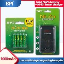 4 sztuk ni-zn 1.6V AAA 1000mWh mAh akumulator do aparatu brzytwa zabawki PK Ni-MH baterii + BPI NiZn AA AAA inteligentna ładowarka