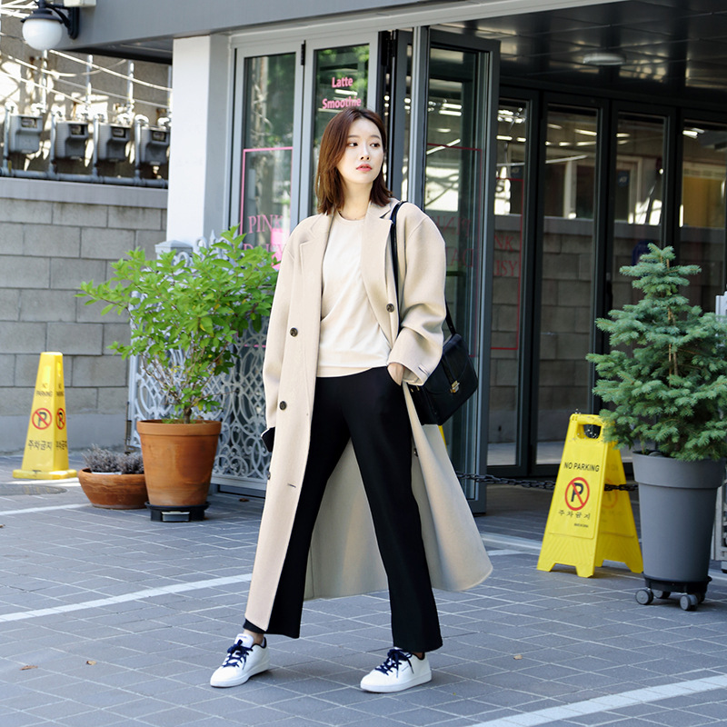 2019 New Double-breasted Women Coat Long Casual Cashmere for Black Coats