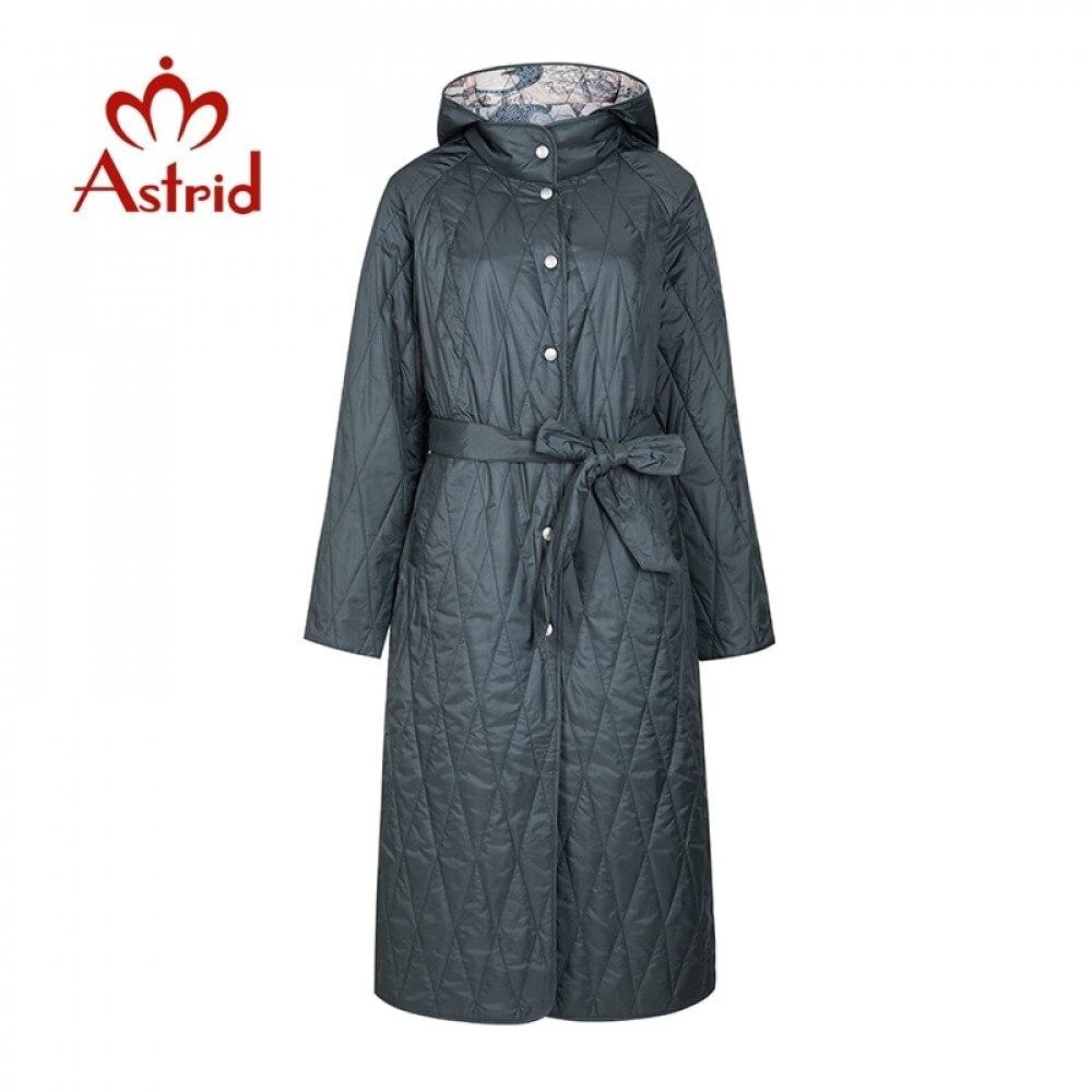 Astrid 2021 Spring Warm Thin Cotton Jacket Long loose clothing female plus size long coats with а belt coat women  ZM-9428