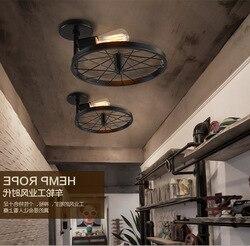 Amerykański kraj przemysłowy wielokolorowy lampa sufitowa Retro restauracja kawiarnia lampa sufitowa żelazna tylko kolor czarny połysk