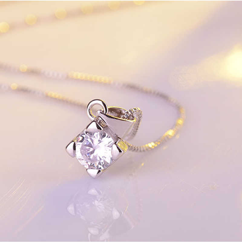 Simple 925 Sterling Silver Set di Gioielli da Sposa per Le Spose Aaa Cz di Zircon Orecchini con Perno Pendenti con Gemme E Perle Collane Set Donne Collares