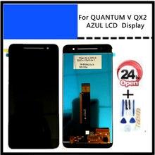 5,5 Polegada para quantum v qx2 azul display lcd montagem do sensor de vidro toque