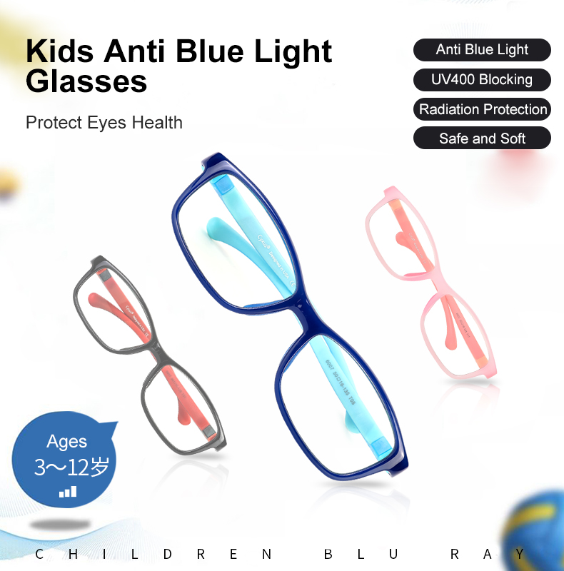 Cyxus Kids Computer Glasses Anti Blue Light Glasses Flexible Frame BPA-Free Silicone Nose Pad For Boys/Girls Ages 3~12 6007