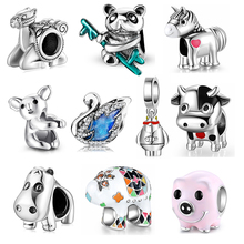 925 Sterling Silver lovely Cute cow Charm Beads Accessories fits Original JIUHAO DIY Bracelets Jewelry Making Gifts