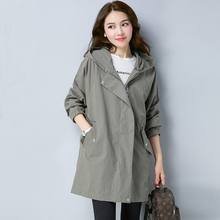 Windbreaker Loose trench Coat for women Girls Long Fund Autumn 2019 Easy Leisure Time Joker Will Code Suit-dress Even Cap Tide(China)