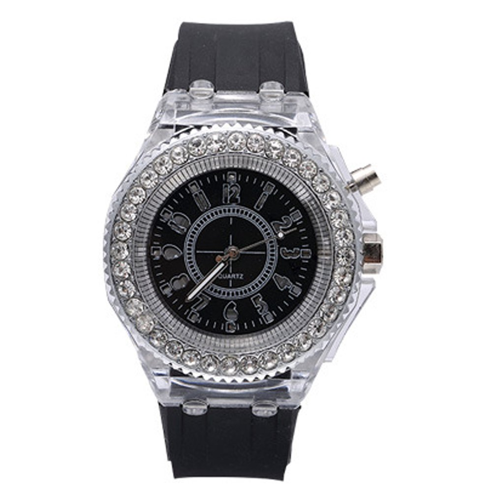 Hot Quartz Watches Luminescent Personality Rhinestone Led Silicone Fashion Boys And Girls Watch For Dropshipping