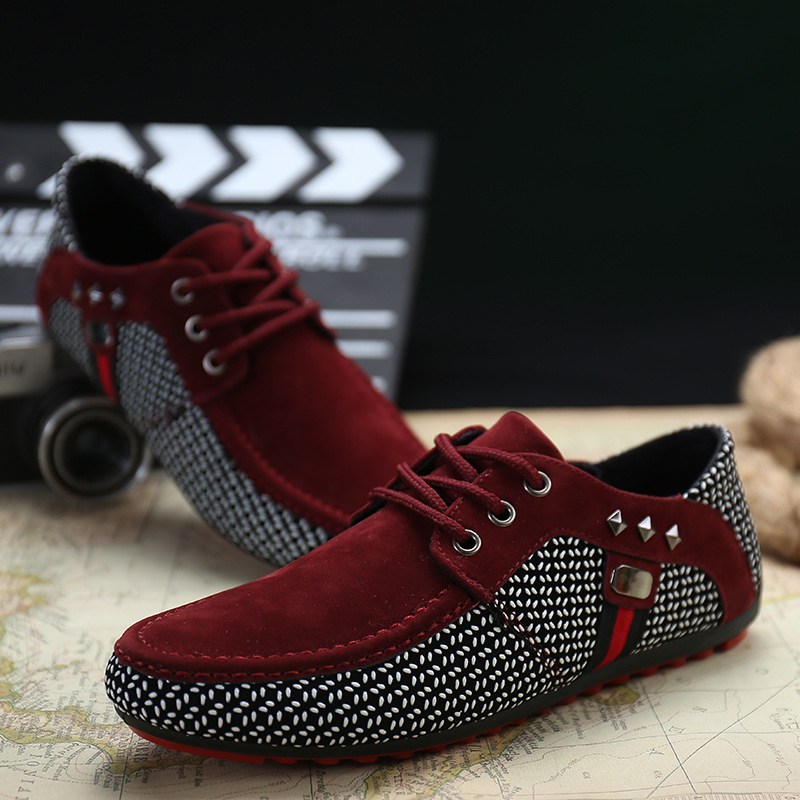 Spring And Autumn New Breathable Men's Shoes Board Shoes Board Shoes British Casual Shoes Lace Fashion Non-slip Driving Shoes
