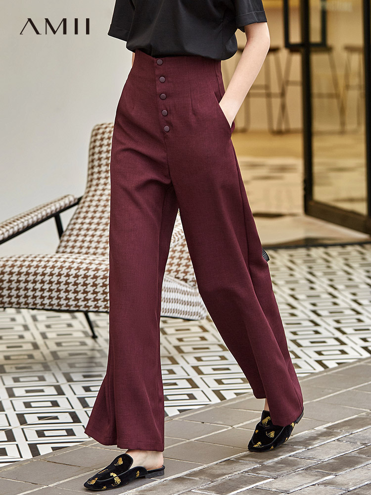Amii Autumn Women High Waist Trousers Female Casual Solid Loose Wide Leg Pants 11840436