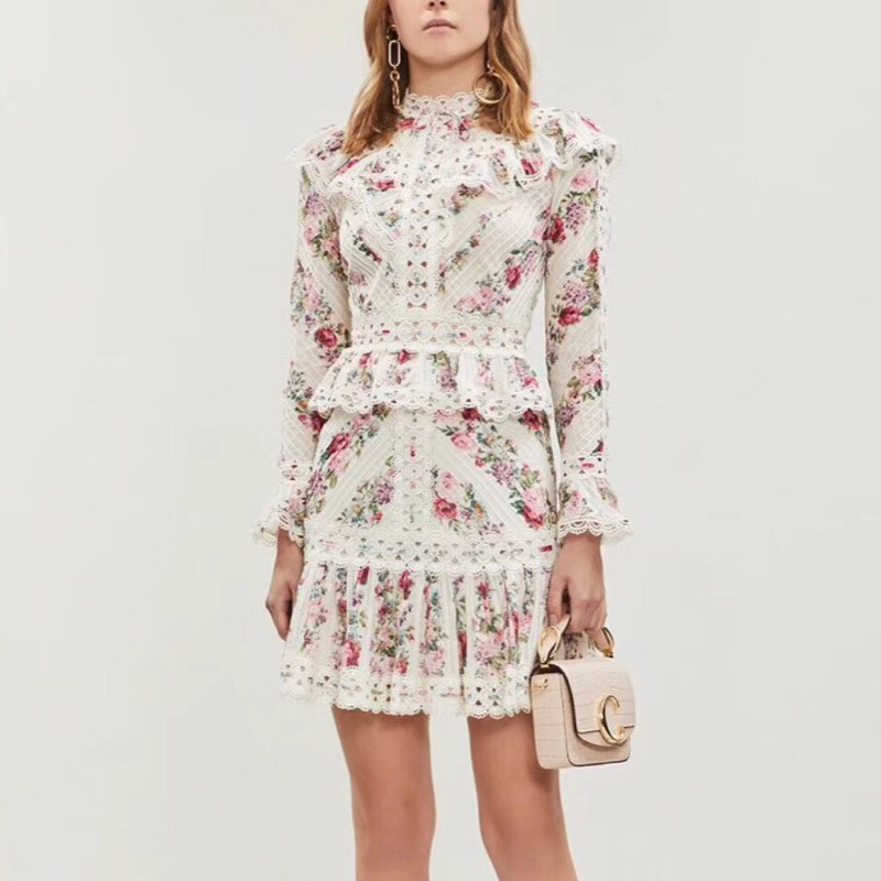 Sweet Style Flower Print 2 Piece Set Female Stand Collar Flare Sleeve Stitching Hollow Shirt High Waist Women Mini Skirt