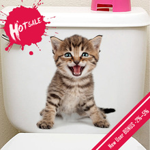 New DIY 3D Cute Cat Dog Toilet Wall Stickers Bathroom Waterproof Removable Car Animal Wall Poster Home Decor Kitchen Accessories