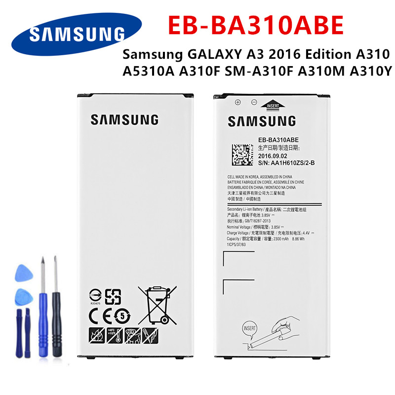 SAMSUNG Orginal EB-BA310ABE 2300mAh Battery For Samsung GALAXY A3 2016  Edition A310 A5310A  A310F SM-A310F A310M A310Y +Tools