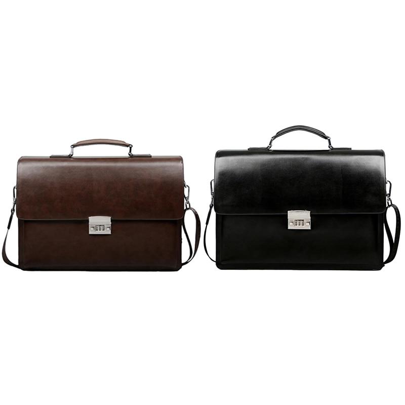 Business Men's Bag Large Capacity Cowhide Leather Briefcase Combination Lock Shoulder Messenger Bag 38X27X7cm