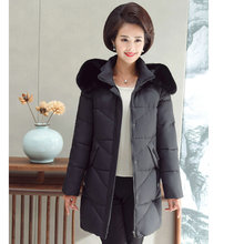 Women Winter Fur Hooded Puffer Jackets Dark Gray Red Puff Parkas Woman Padded Hood Basic Coat Warm Quilted Overcoat Plus Size