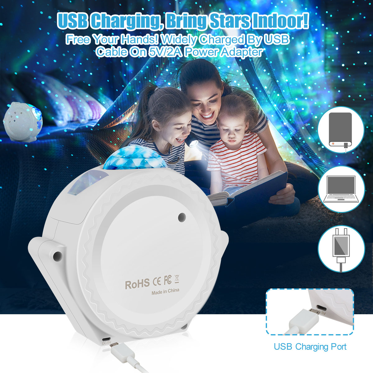 LED Starry Sky Projector Light 360 Degree Rotation Nebula Cloud Night Light 6 Colors Ocean Waving Light Best Gift For Kids