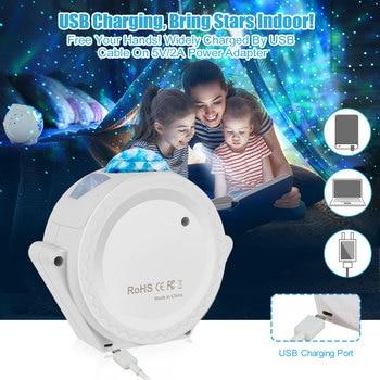 LED Starry Sky Projector Light 360 Degree Rotation Nebula Cloud Night Light 6 Colors Ocean Waving Light Best Gift for Kids