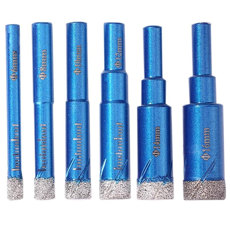 6pcs Durable Diamond Coated Core Dry Drilling Bits Set For Glass Marble Granite Built-in Cooling Wax Fine Workmanship