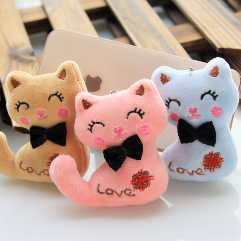 Soft 3Colors Little Size 9CM NEW Cat Plush Animal Stuffed Kitty Cat Key Chain TOY Kid's Party Plush Toys  Bouquet Plush Dolls