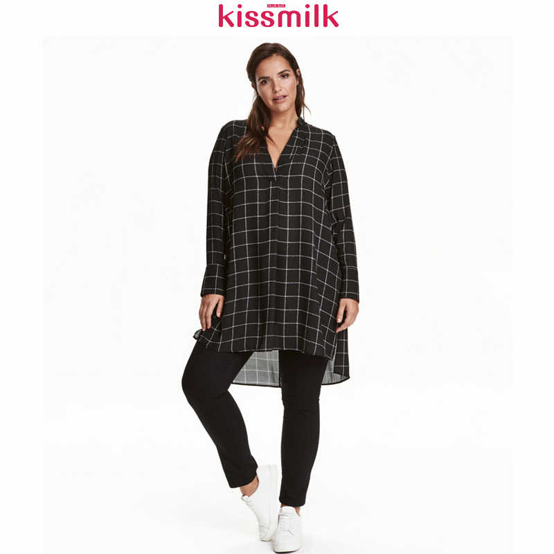 Kissmilk Big Size New Fashion Vrouwen Kleding Casual Basic Dress V-hals Glad Lange Mouw Jurk Bohemian Plus Size Jurk