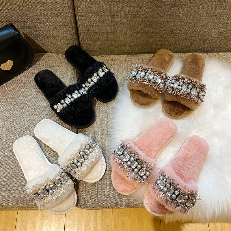 Solid Fur Slides New Winter Warm Slippers Women Shoes Woman Flat Sole Furry Slides for Women Slippers Plus Size Zapatos De Mujer