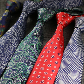 NEW 2.96 Men Paisley Plaid Jacquard Woven Polyester Silk Ties Neck Tie 7.5CM Striped Ties Men Business Business Wedding Party new mens tie blue gold paisley silk jacquard neck ties business wedding party ties for men