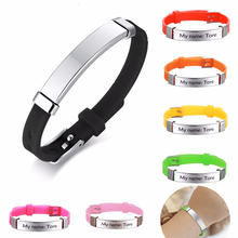 LIKGREAT Personalize Kids Baby ID Bracelets Soft Silicone Rudder Stainless Steel Children Girls Boys Custom Emergency Name Phone