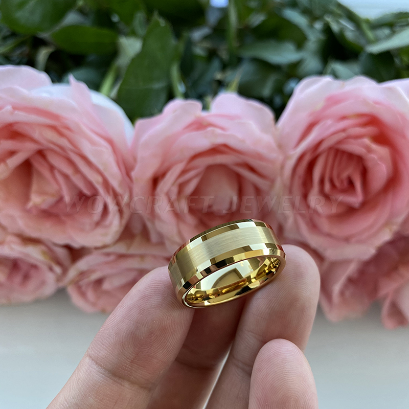 6mm 8mm Mens Womens Gold Tungsten Carbide Wedding Band Rings Beveled Edges Polished Matted Finish Comfort Fit Personal Customize 3
