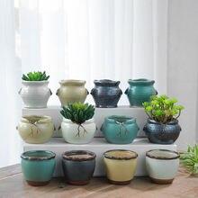 Современный Керамика расписанные вручную мини горшок для цветов