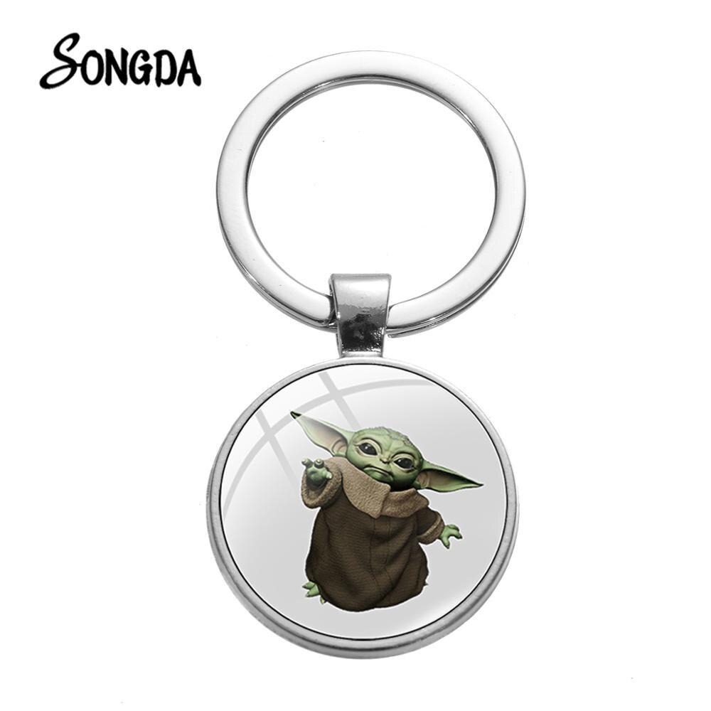 SONGDA Hot Kawaii Baby Yoda Art Pattern Keychain The Mandalorian Series Baby Yoda Glass Crystal Key Chains Holder Birthday Gifts
