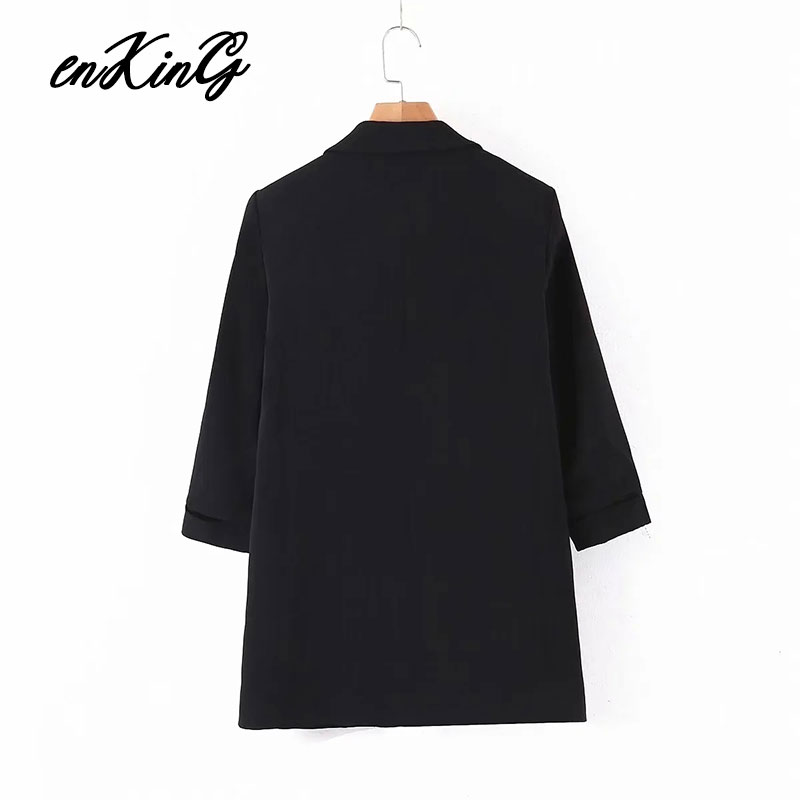 2020  spring england office lady simple casual roll up sleeve black za blazer feminino blazer women blazer mujer  jackets