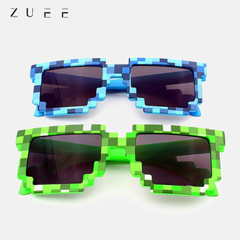 Funny Grid Sunglasses Fashion Retro Punk Sunglasses for Unisex Cosplay Action Game Toy Minecrafter Square Anti-glare Sunglasses image