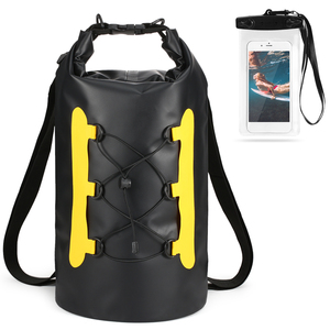 15L Waterproof Dry Bag with Phone Case Swimming Bag Roll Top Dry Sack Backpack for Kayak Boating Fishing Surfing Rafting River