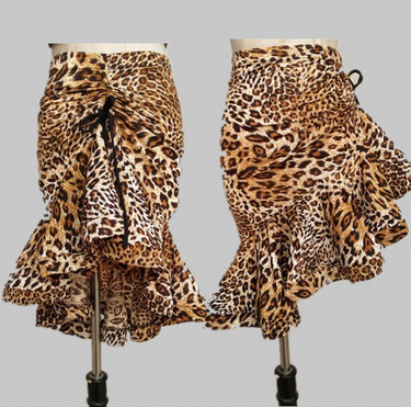 Leopard Adult Classic Latin Dance Competition Skirt Ballroom Dance Skirt Woman Sexy Salsa Tango Rumba Cha Cha Asymmetrical Skirt