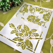 21*29.5 flower leaves scrapbook stencils spray plastic mold shield DIY cake hollow Embellishment printing lace ruler Christmas(China)