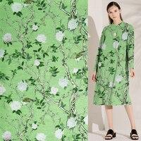 Plant design tree and bird print on blue background silk linen fabric,SLN180