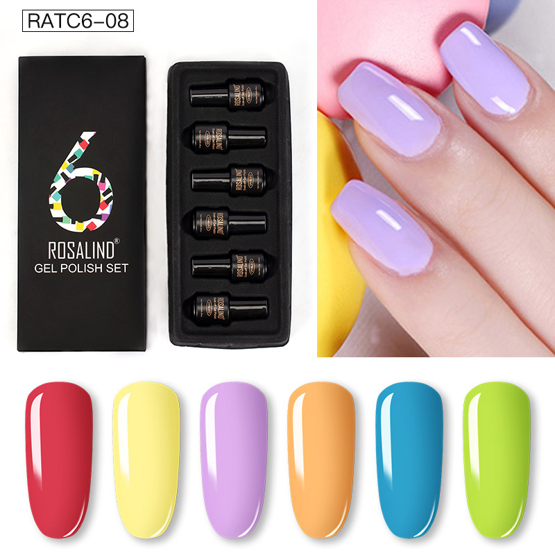 ROSALIND Gel Nail Polish Set Solid Color Nail Kit For Manicure Vernis Semi Permanent 7ML Gel Kit Top And Base All For Manicure 22