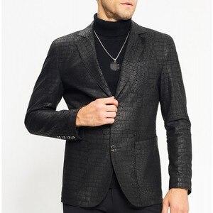 Image 1 - Man Genuine Leather Jacket Luxury Brand Sheepskin Slim Crocodile Pattern Blazer Jacket Business Single Breasted Short Coat Male