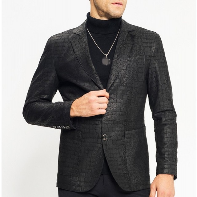 Man Genuine Leather Jacket Luxury Brand Sheepskin Slim Crocodile Pattern Blazer Jacket Business Single Breasted Short Coat Male