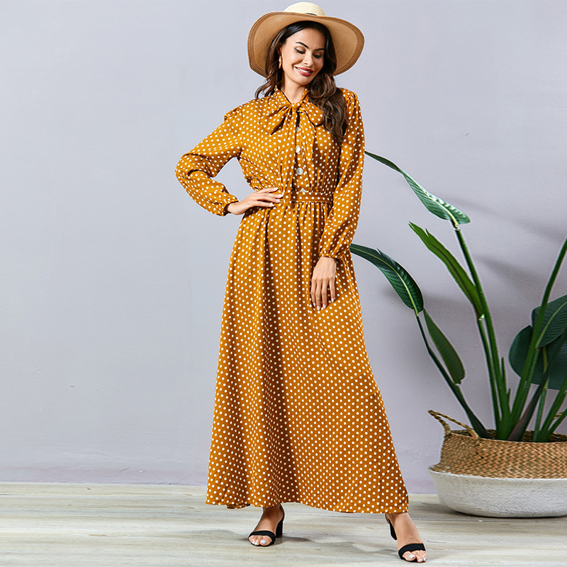 Siskakia Elegant Ladies Polka Dot Dress Sweet Bow Bandage Peter Pan Collar Long Sleeve Swing Maxi Dresses Yellow Spring 2020 New