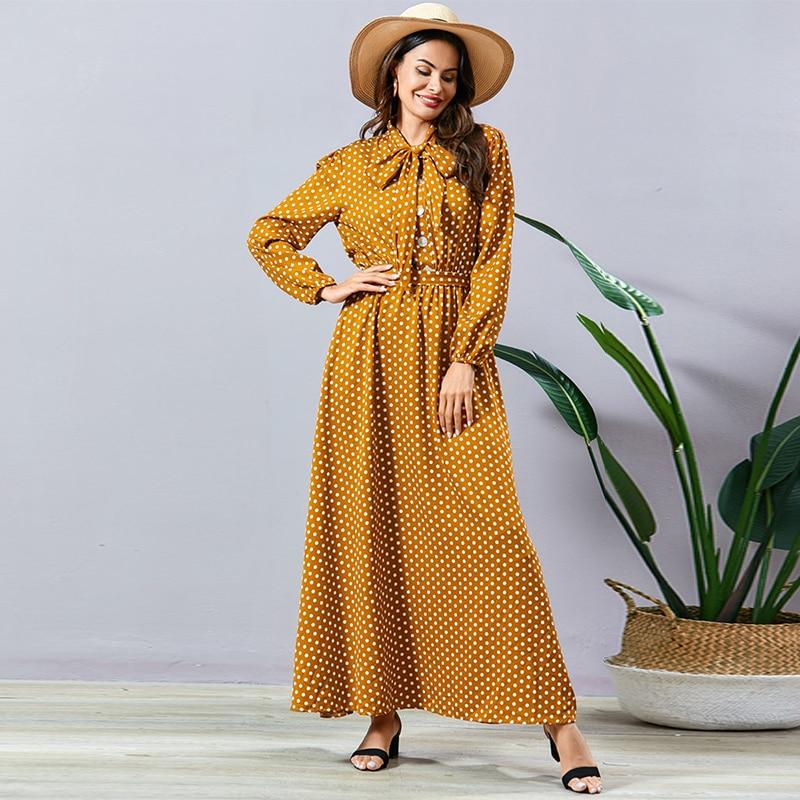 Siskakia Elegant Ladies Polka Dot Dress Sweet Bow Bandage Peter Pan Collar Long Sleeve Swing Maxi Dresses Yellow Spring 2020 New