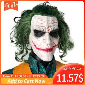 Image 1 - Máscara de Joker película Batman El Caballero Oscuro payaso de terror Cosplay máscaras de látex con Peluca de pelo verde Utilería de miedo disfraz de fiesta de Halloween
