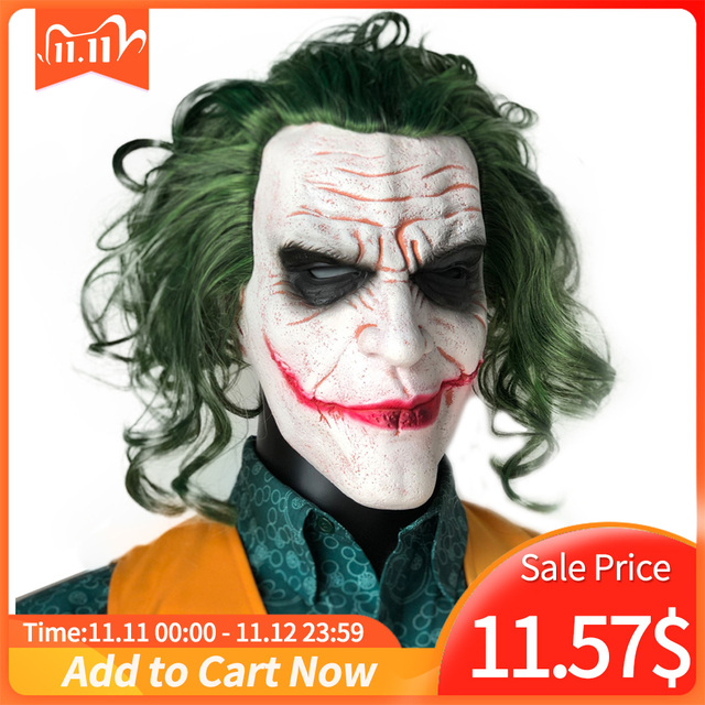 Máscara de Joker película Batman El Caballero Oscuro payaso de terror Cosplay máscaras de látex con Peluca de pelo verde Utilería de miedo disfraz de fiesta de Halloween