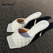 Sandalias MONMOIRA Vintage con punta cuadrada para mujer, Sandalias de tacón alto de guinga liso para mujer, zapatos de tacón de bloque para mujer SWC0841