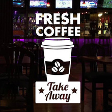 Coffee Shop Sign Window Door Decal Fresh & Take Away Vinyl Sticker Business Decoration Removable Murals Z352