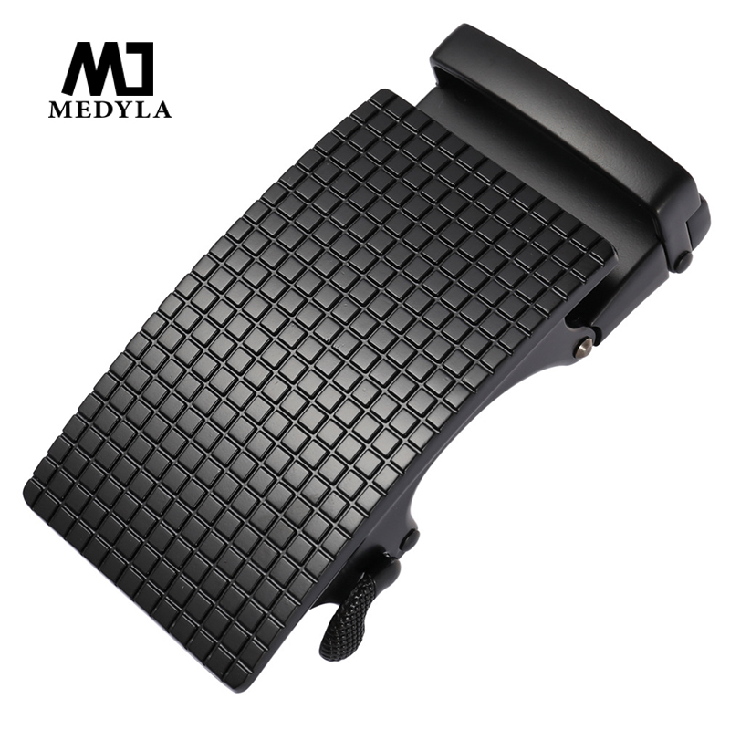 MEDYLA Fashion Checkered Belt Buckle Solid Metal Matte Black Automatic Buckle Inner Diameter 3.6cm Men Business Belt Big Buckle