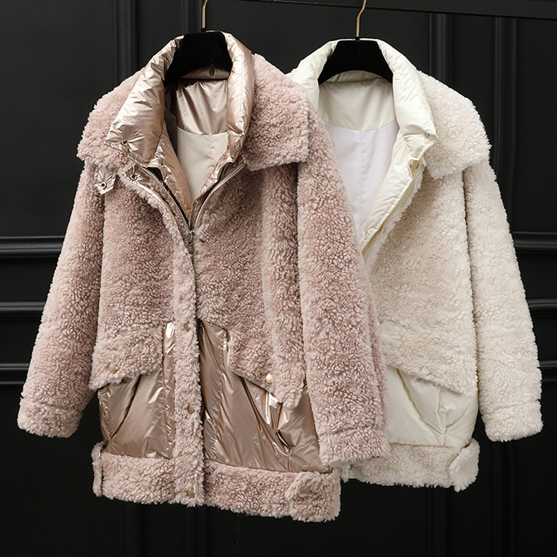 Real 2020 Sheep Shearling Fur Coat Female Korean Down Jacket Winter Jacket Women 100%% Wool Coats Chaqueta Mujer MY4057 S