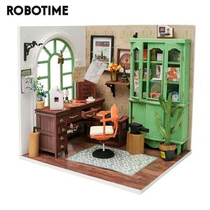 Robotime New Arrival DIY Jimmy's Studio Doll House with Furniture Children Adult Miniature Dollhouse Wooden Kits Toy DGM07(China)