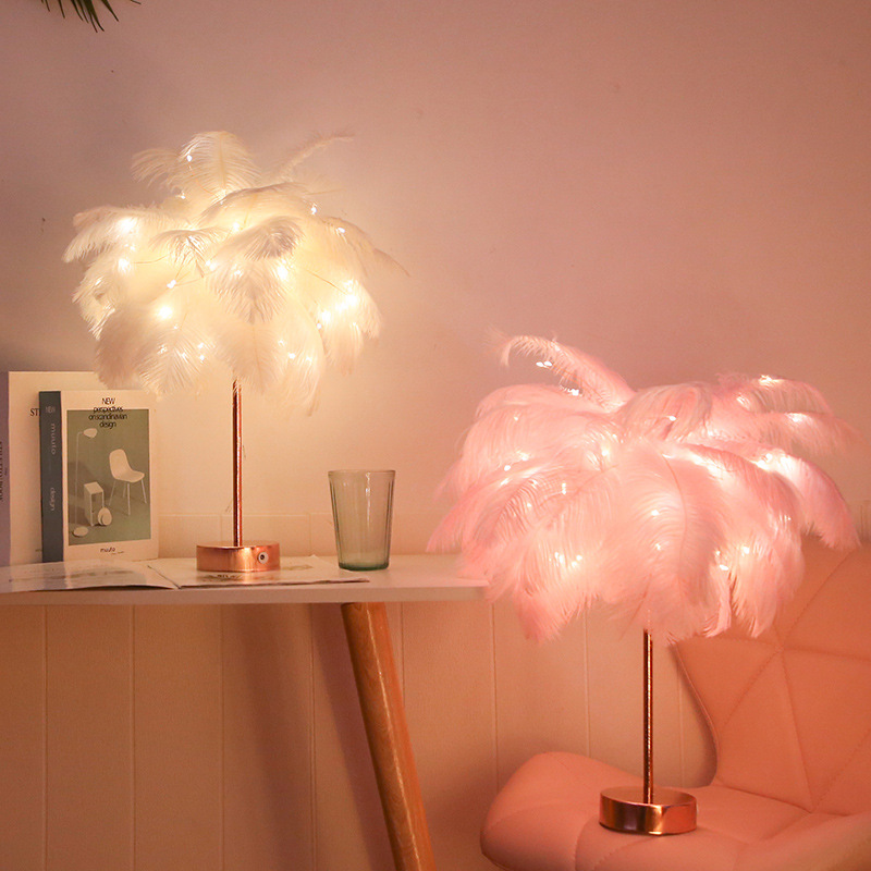 Creative Feather Table Lamp Dandelion Tree Night Lights For Home Bedside Girl Room Wedding Decorative Lights Fairy Birthday Gift